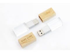 S800 薄型木蓋水晶隨身碟 | Crystal style usb flash drive with wooden cover |